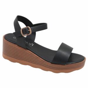 Tatazi Ladies Wedge Side Buckle Sandal Black