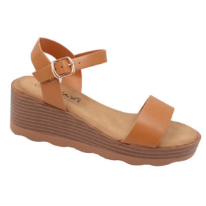 Tatazi Ladies Wedge Side Buckle Sandal Tan