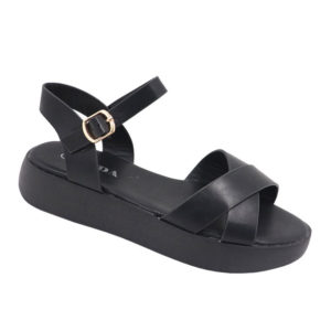 Jada Ladies Cross Over Sandal With Side Buckle Black