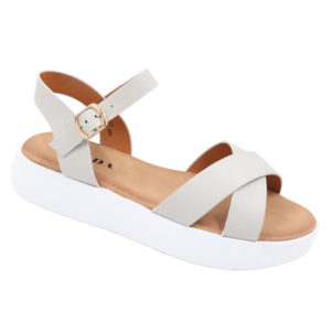 Jada Ladies Cross Over Sandal With Side Buckle Grey