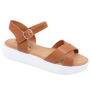Jada Ladies Cross Over Sandal With Side Buckle Tan