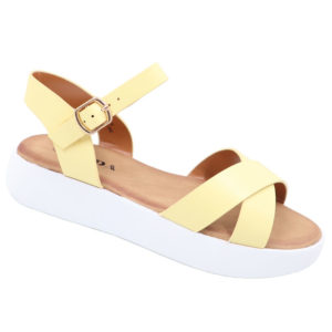 Jada Ladies Cross Over Sandal With Side Buckle Yellow