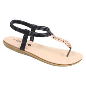 Spoiler Ladies Thong Sandal with Diamante Detail Black