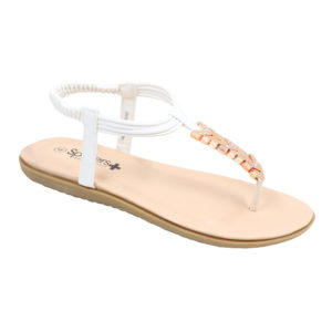 Spoiler Ladies Thong Sandal with Diamante Detail White