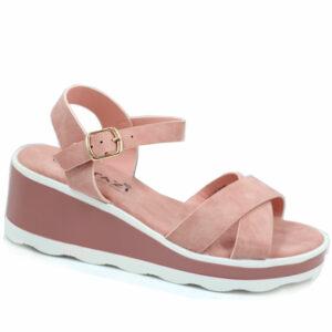 Tatazi Ladies Cross Over Wedge Sandal Pink