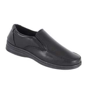 City Style Mens Slip-On Leather Look Shoe Black