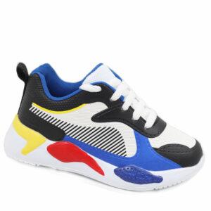 DSL Kids Fashion Mesh/PU Sneaker Blue/Red