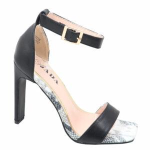 Jada Ladies Leather Look Stylish Ankle Strap Heel Black