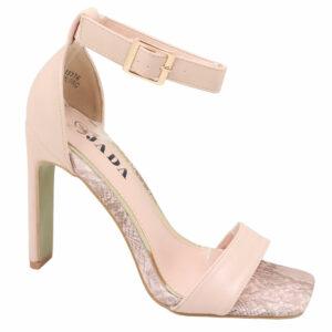 Jada Ladies Leather Look Stylish Ankle Strap Heel Nude