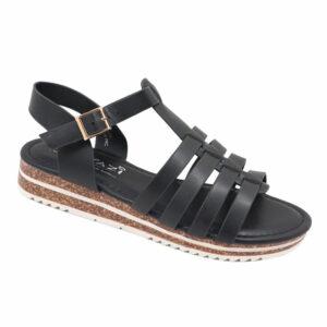 Tatazi Ladies PU Strappy Sandal With Ankle Strap Black