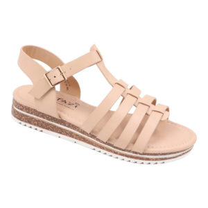 Tatazi Ladies PU Strappy Sandal With Ankle Strap Natural