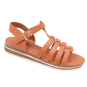 Tatazi Ladies PU Strappy Sandal With Ankle Strap Tan