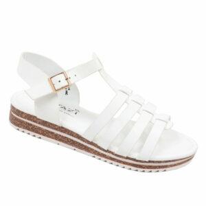Tatazi Ladies PU Strappy Sandal With Ankle Strap White