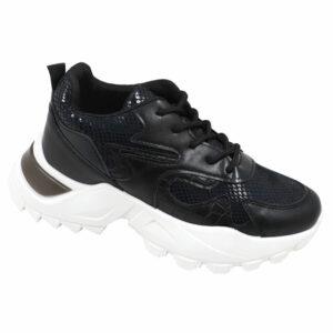 Black-Inc Ladies Chunky Combo Sneaker Black