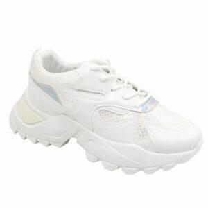 Black-Inc Ladies Chunky Combo Sneaker White