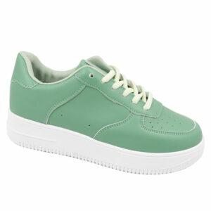 Black-Inc Ladies PU Fashion Sneaker Green