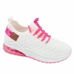 Black-Inc Ladies Comfy Slip-On Sneaker White/Pink