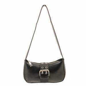 Blackcherry Black Mini Baguette Bag With Buckle