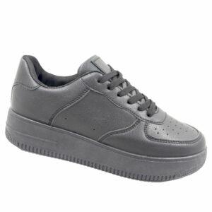 Black-Inc Ladies PU Fashion Sneaker Black Mono