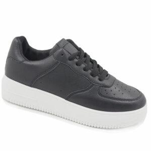 Black-Inc Ladies PU Fashion Sneaker Black/White