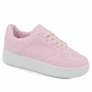 Black-Inc Ladies PU Fashion Sneaker Light Pink