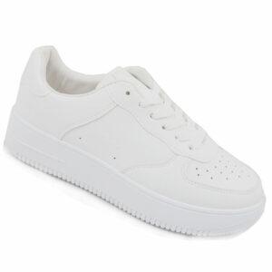 Black-Inc Ladies PU Fashion Sneaker White