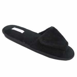 DSL Mens Slipper With Velcro Strap Black