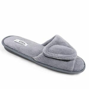 DSL Mens Slipper With Velcro Strap Grey