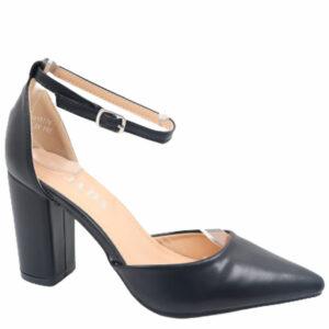Jada Ladies Leather Look Block Heel With Ankle Strap Black