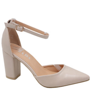 Jada Ladies Leather Look Block Heel With Ankle Strap Natural