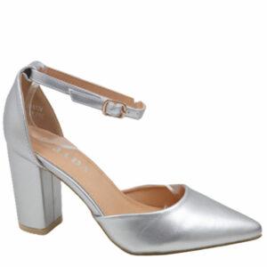 Jada Ladies Leather Look Block Heel With Ankle Strap Silver