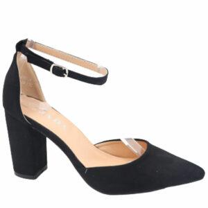 Jada Ladies Suede Block Heel With Ankle Strap Black