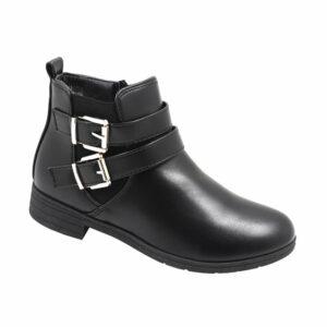 Tatazi Ladies Double Buckle Leather Look Boot Black