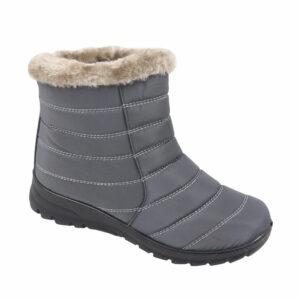 Spoiler Ladies Nylon Bootie With Faux Fur Detail Charcoal