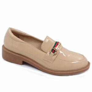 Jada Ladies Chain Detailed Patent Loafer Beige