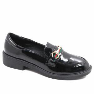 Jada Ladies Chain Detailed Patent Loafer Black
