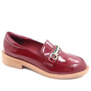 Jada Ladies Chain Detailed Patent Loafer Burgundy