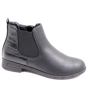 Tatazi Ladies Combo Ankle Boot With Elastic Detail Black
