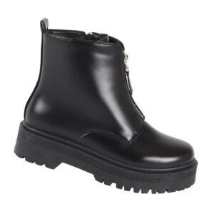 Jada Ladies PU Front Zip Fashion Ankle Boot Black