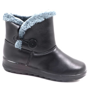 Spolier Ladies PU Bootie With Faux Fur And Button Detail Black