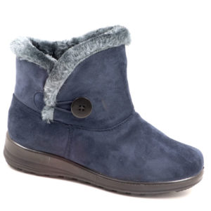 Spoiler Ladies Suede Bootie With Faux Fur And Button Detail Navy