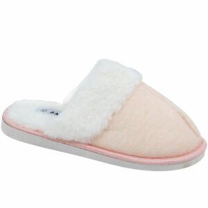 Jada Ladies Fluffy Open Back Slippers Beige