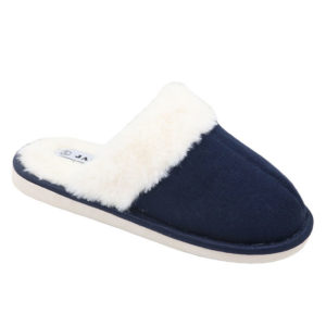 Jada Ladies Fluffy Open Back Slippers Navy
