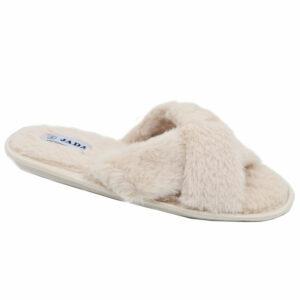 Jada Ladies Criss Cross Fluffy Slipper Beige