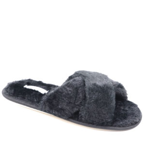 Jada Ladies Criss Cross Fluffy Slipper Black