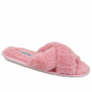 Jada Ladies Criss Cross Fluffy Slipper Pink