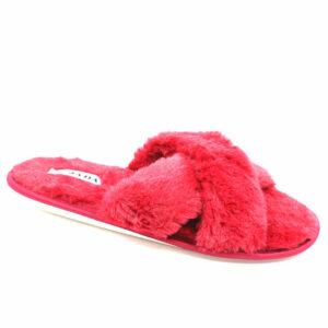 Jada Ladies Criss Cross Fluffy Slipper Red