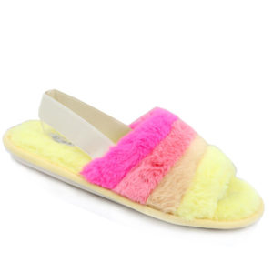 Jada Ladies Fur Slippers With Elasticated Back Strap Yellow/Blush