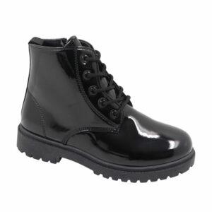 Jada Kidz (Kiddies) Patent Lace Up Ankle Boot Black