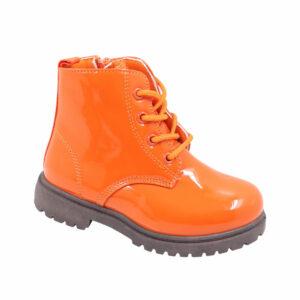 Jada Kidz (Kiddies) Patent Lace Up Ankle Boot Orange